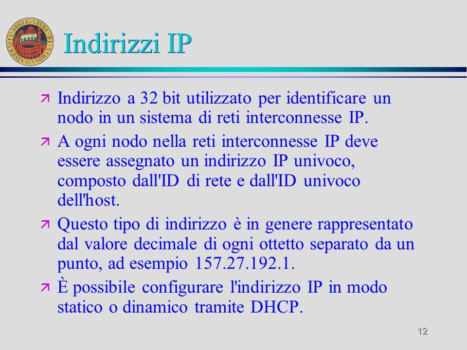 Indirizzi IP Indirizzo a 32 bit utilizzato per identificare un nodo in un sistema di reti interconnesse IP.