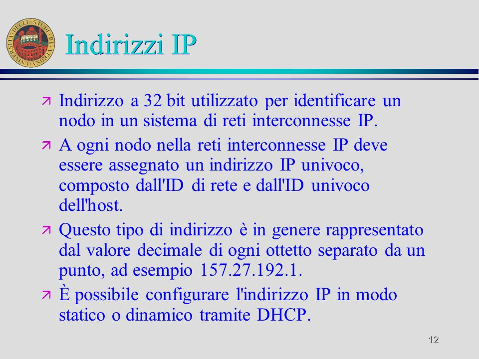 Indirizzi IPIndirizzo a 32 bit utilizzato per identificare un nodo in un sistema di reti interconnesse IP.