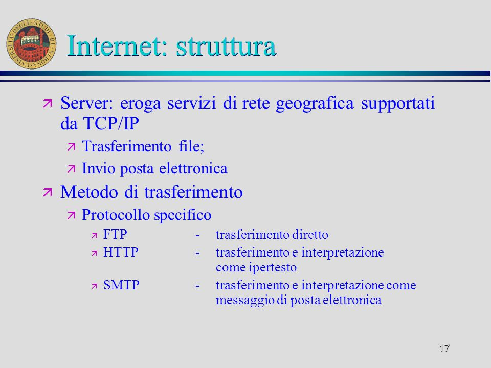 Internet: strutturaServer: eroga servizi di rete geografica supportati da TCP/IP. Trasferimento file;