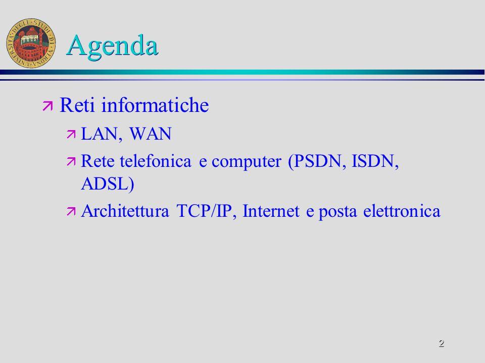 Agenda Reti informatiche LAN, WAN