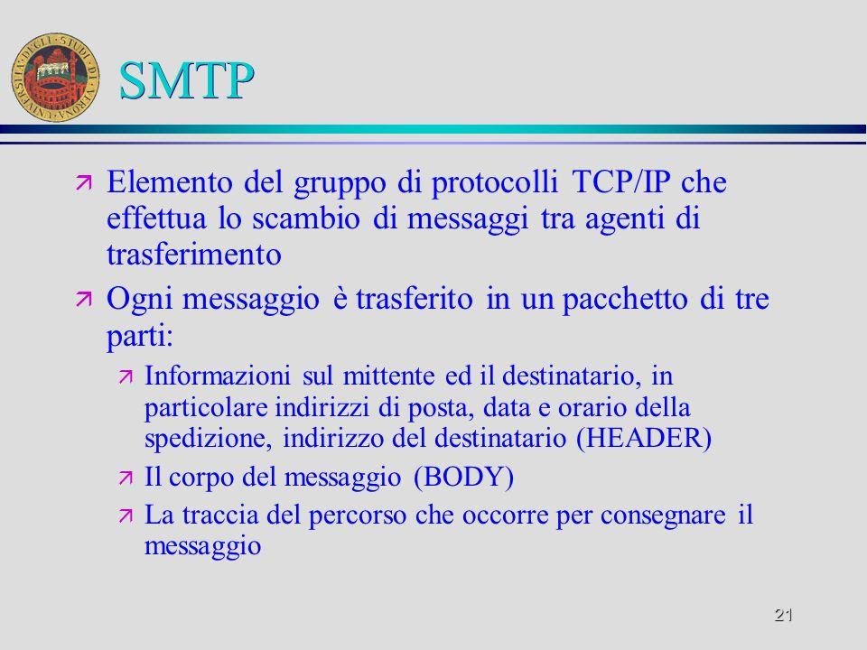 SMTP Elemento del gruppo di protocolli TCP/IP che effettua lo scambio di messaggi tra agenti di trasferimento.