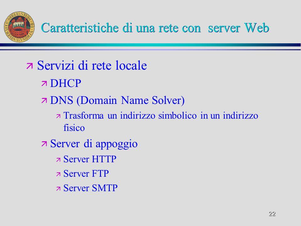 Caratteristiche di una rete con server Web