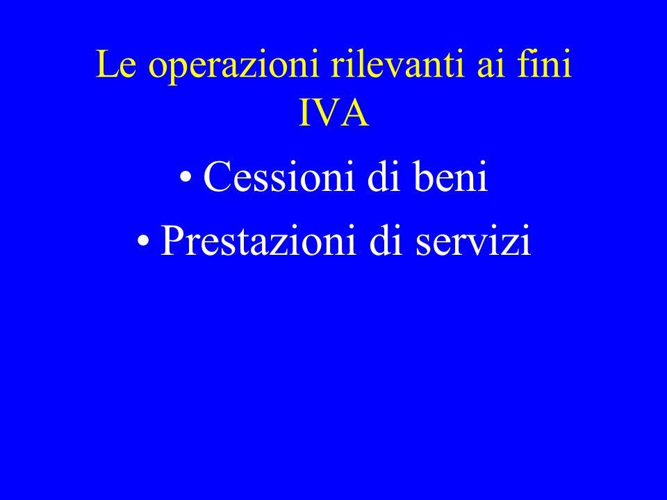 Le operazioni rilevanti ai fini IVA
