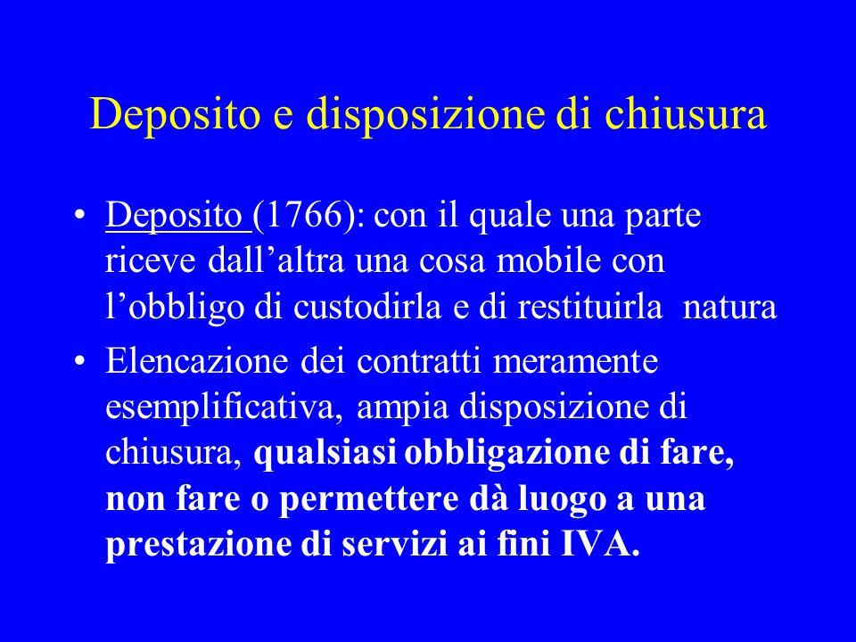 Deposito e disposizione di chiusura