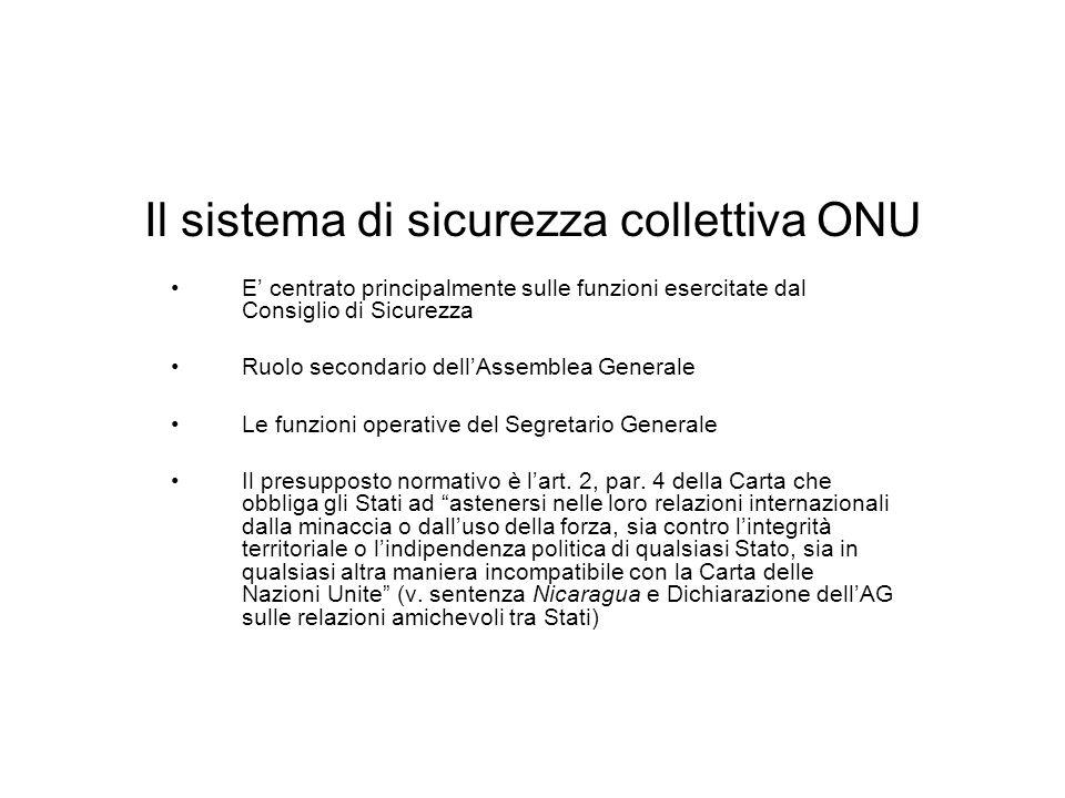 Il sistema di sicurezza collettiva ONU