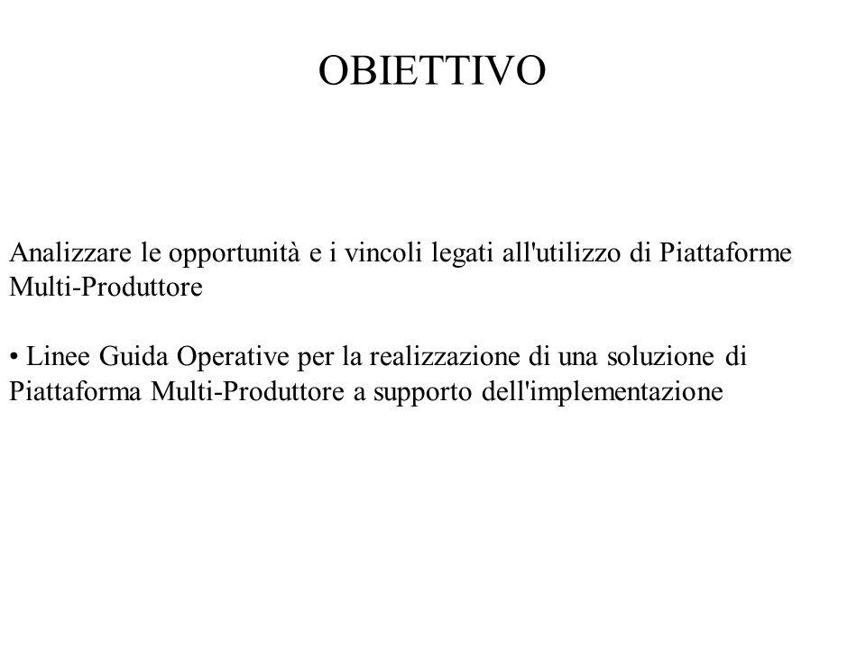 OBIETTIVO Analizzare le opportunità e i vincoli legati all utilizzo di Piattaforme Multi-Produttore.