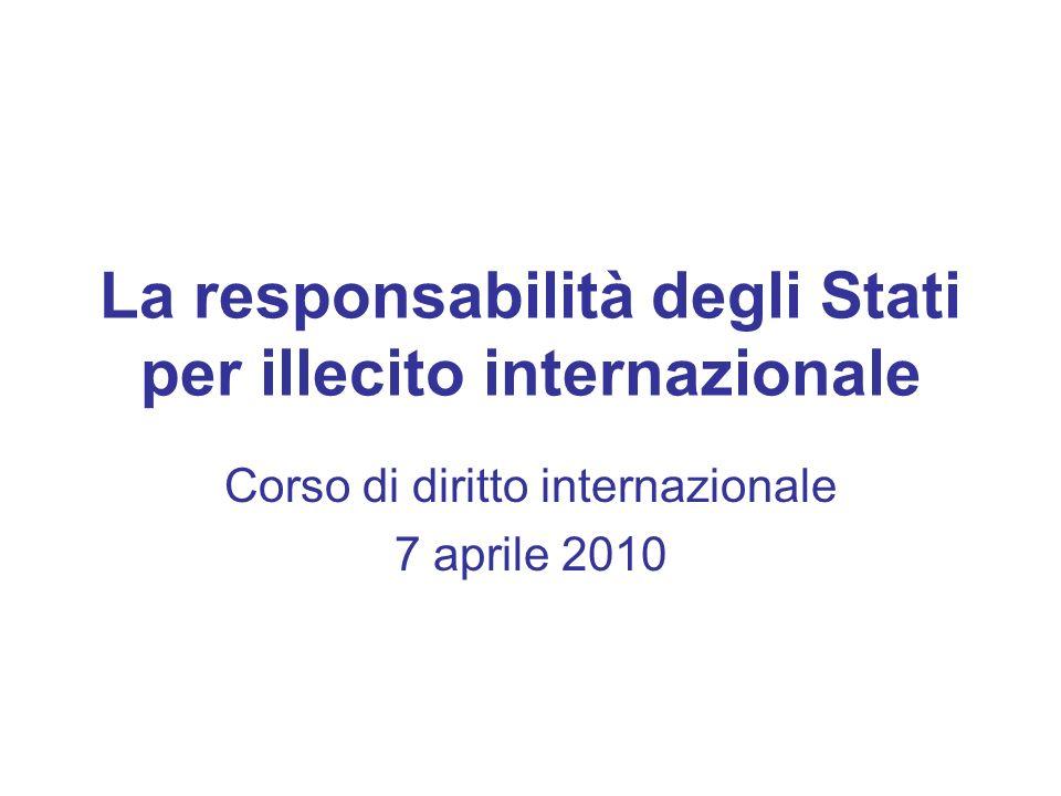 La responsabilità degli Stati per illecito internazionale