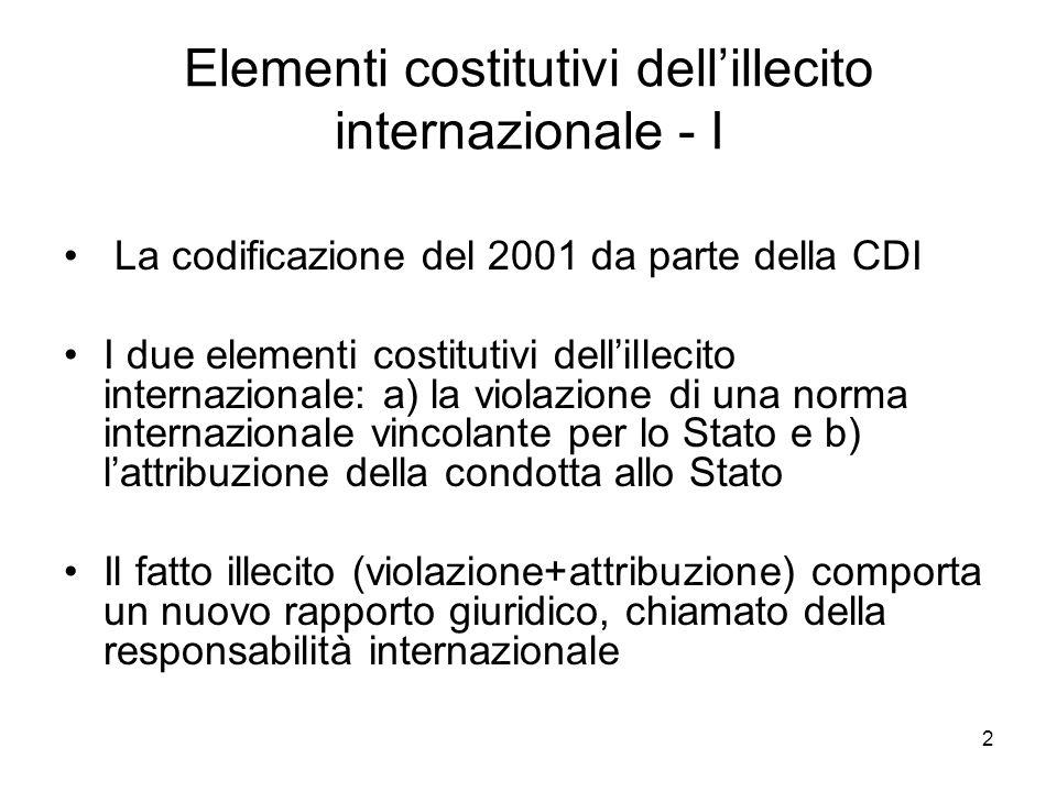 Elementi costitutivi dell'illecito internazionale - I