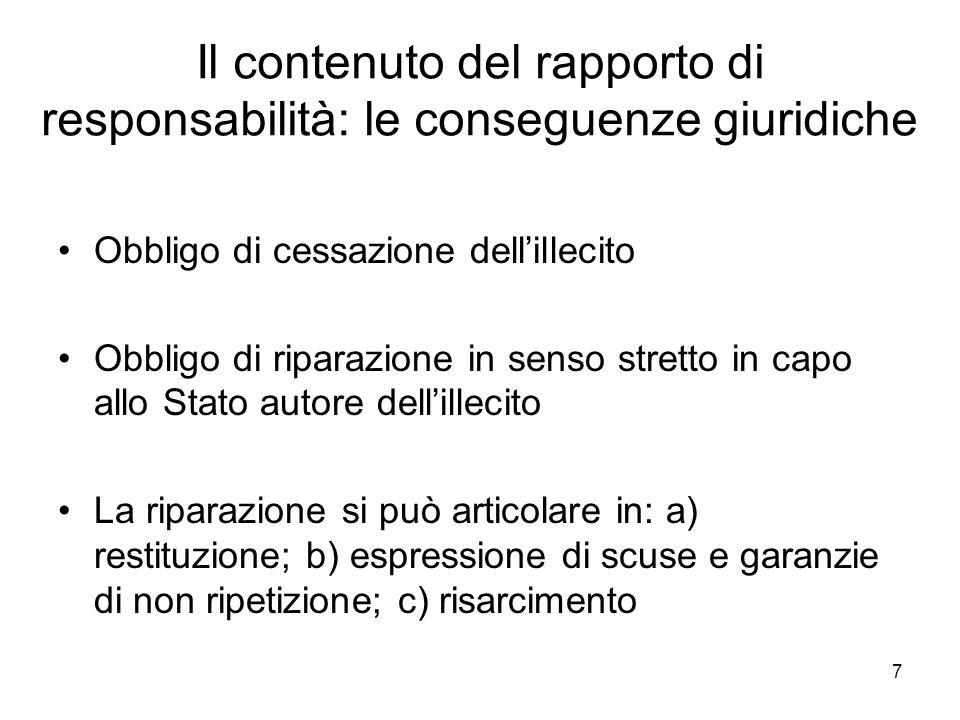 Il contenuto del rapporto di responsabilità: le conseguenze giuridiche