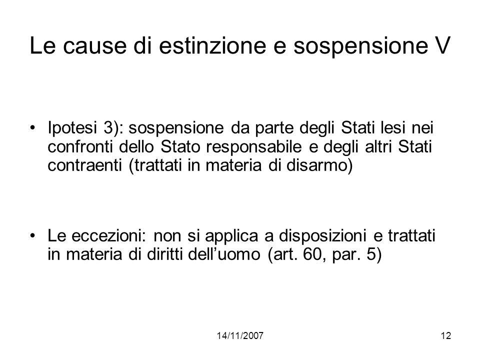 Le cause di estinzione e sospensione V