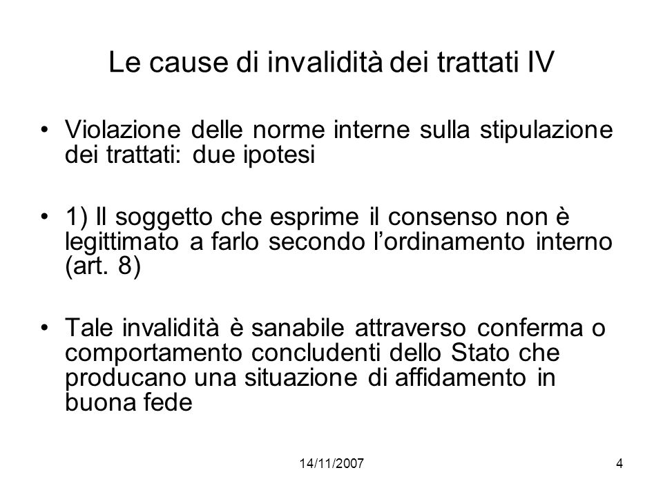 Le cause di invalidità dei trattati IV