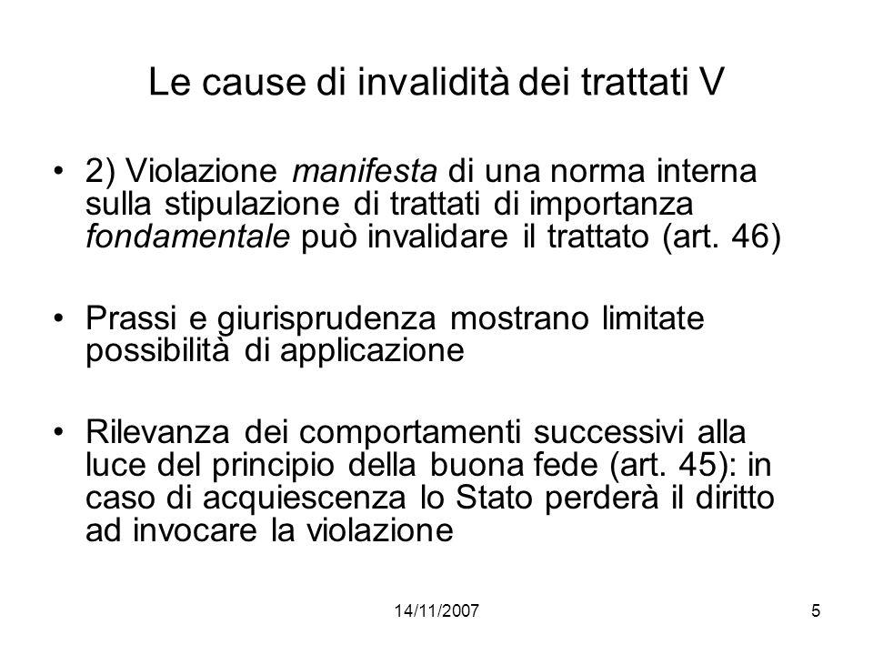 Le cause di invalidità dei trattati V