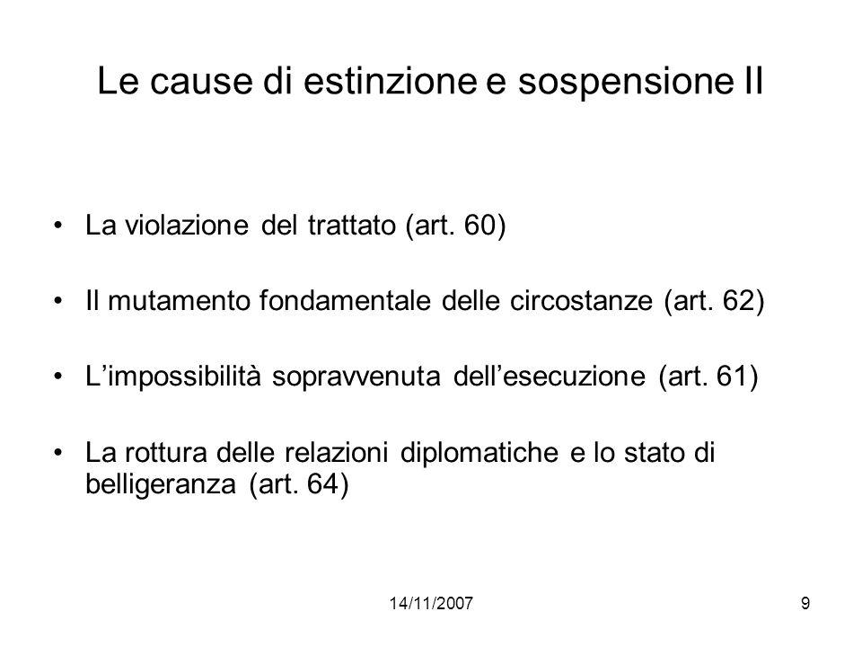 Le cause di estinzione e sospensione II