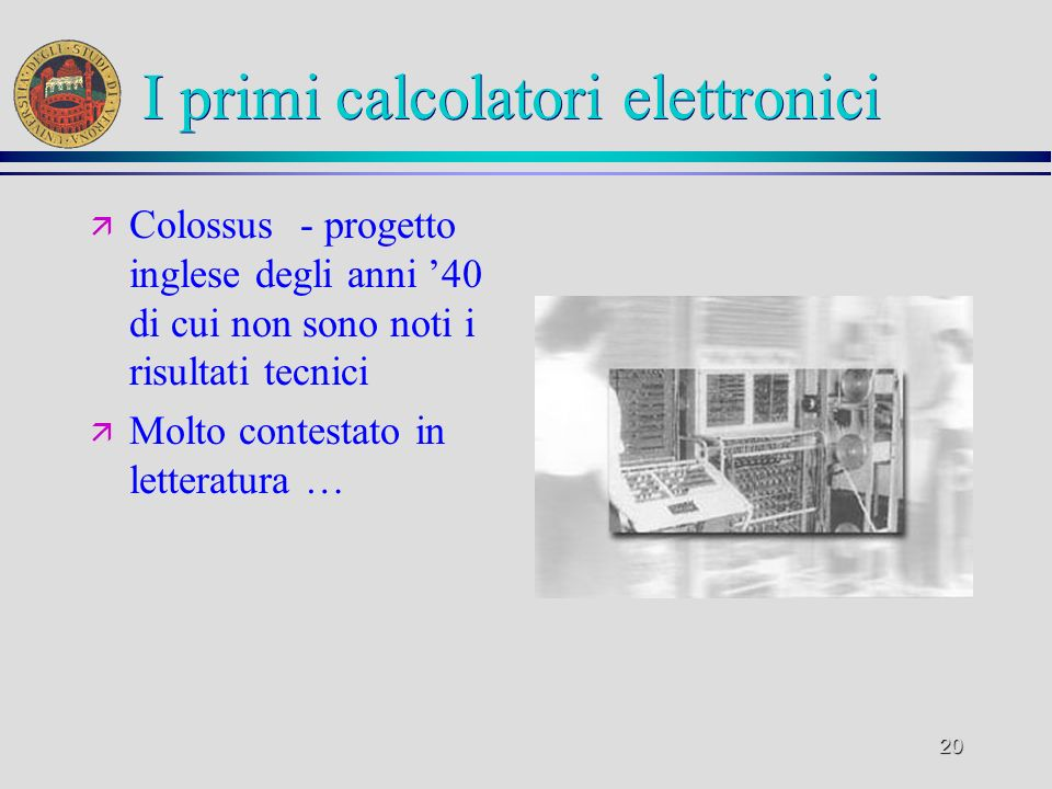 I primi calcolatori elettronici