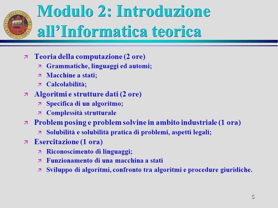 Modulo 2: Introduzione all'Informatica teorica