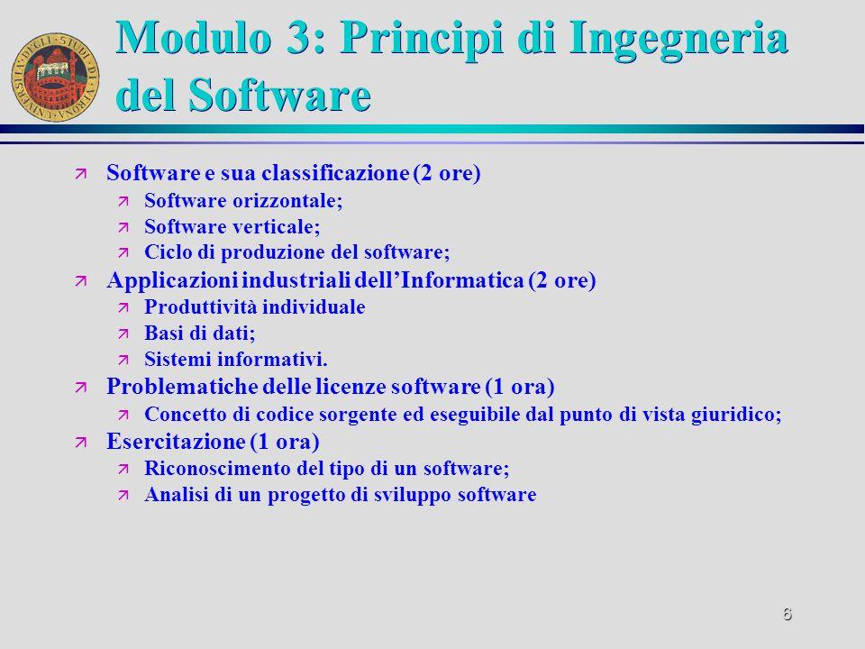 Modulo 3: Principi di Ingegneria del Software