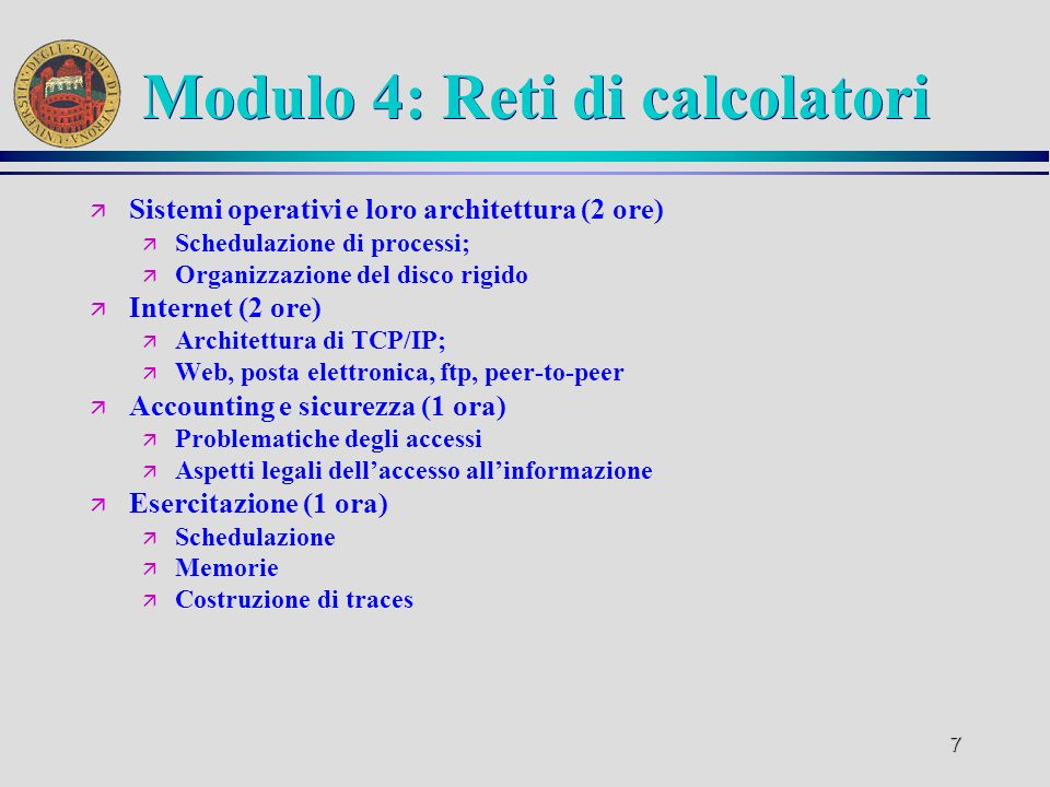 Modulo 4: Reti di calcolatori