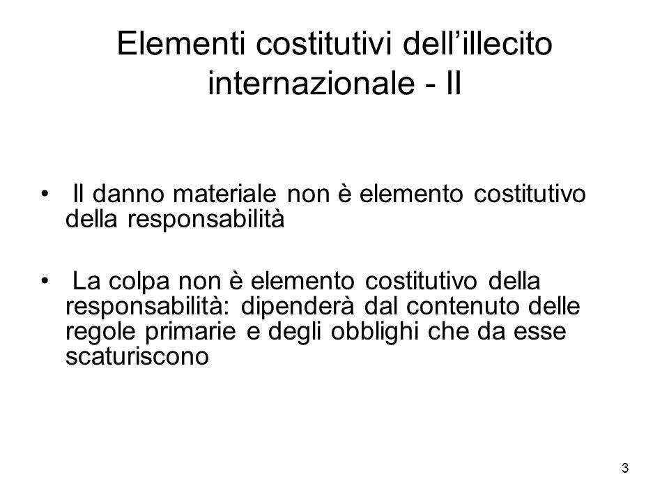 Elementi costitutivi dell'illecito internazionale - II