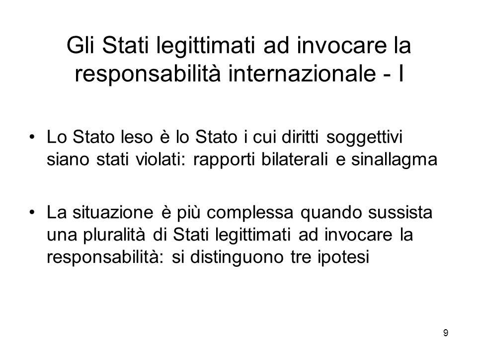 Gli Stati legittimati ad invocare la responsabilità internazionale - I