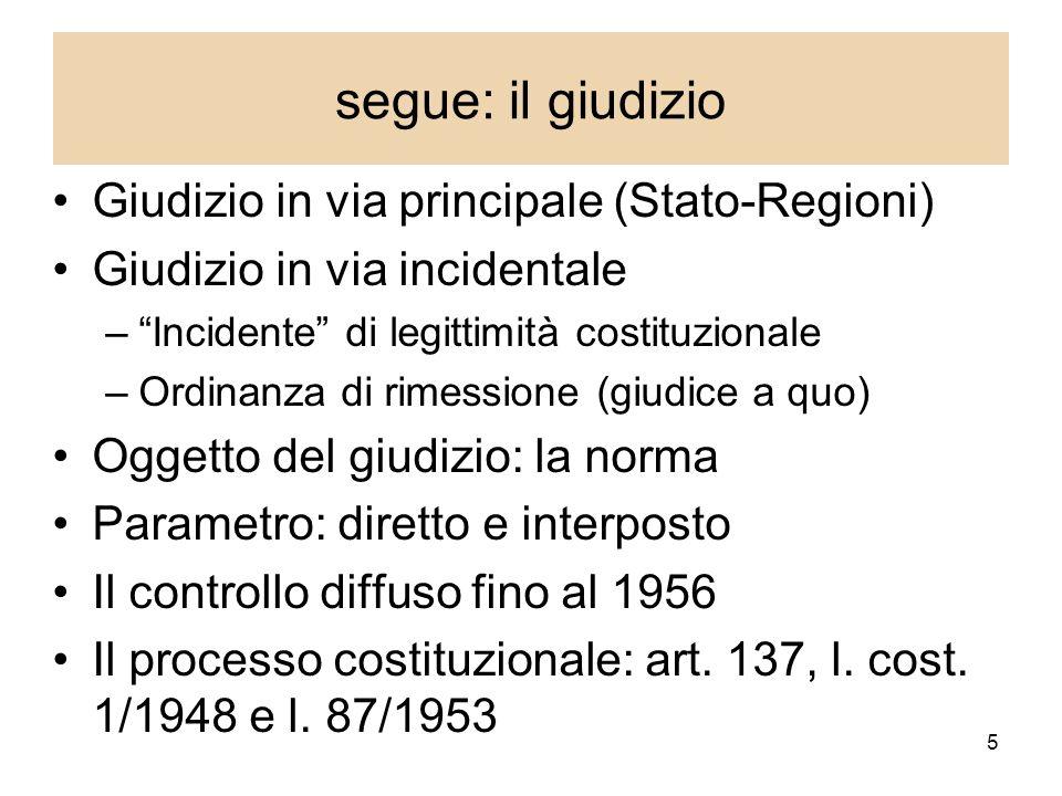 segue: il giudizio Giudizio in via principale (Stato-Regioni)