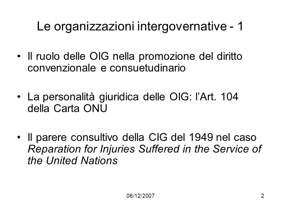Le organizzazioni intergovernative - 1