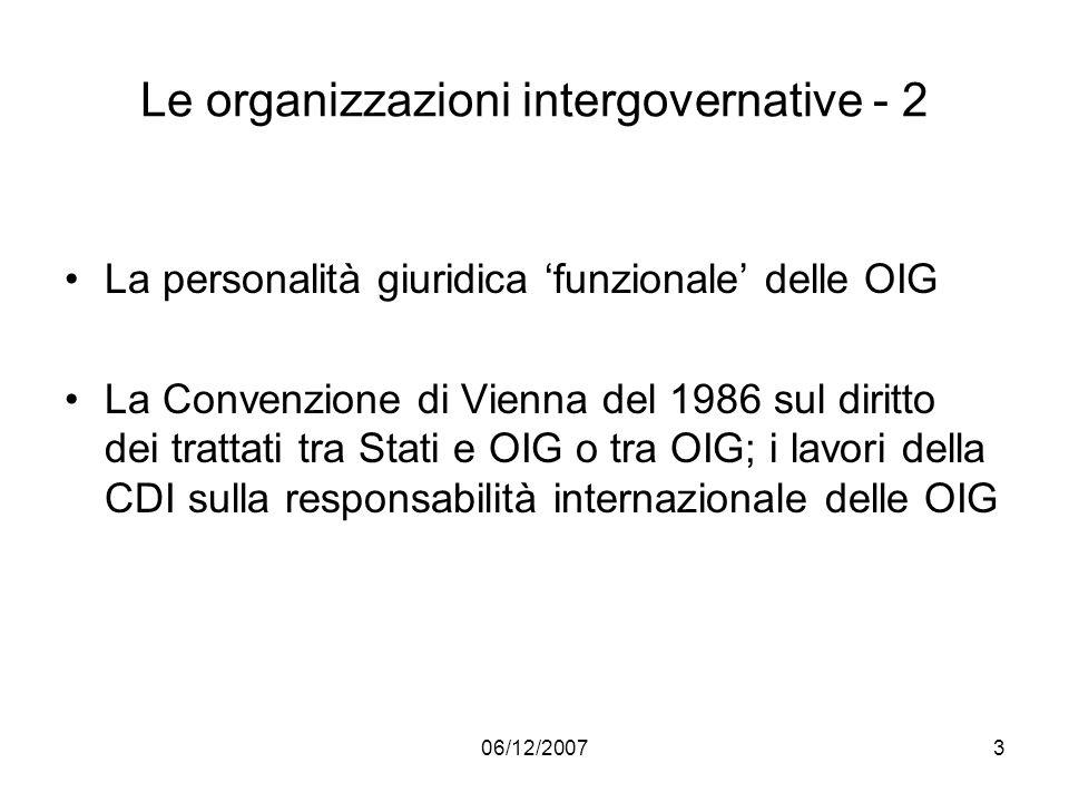 Le organizzazioni intergovernative - 2