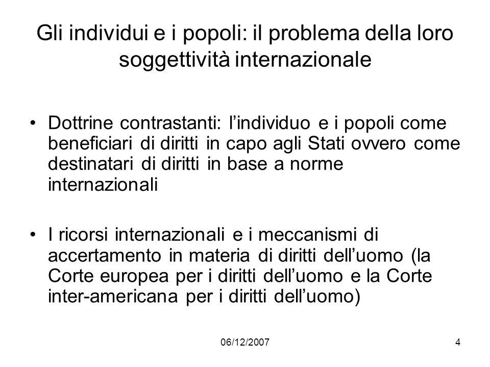 Gli individui e i popoli: il problema della loro soggettività internazionale