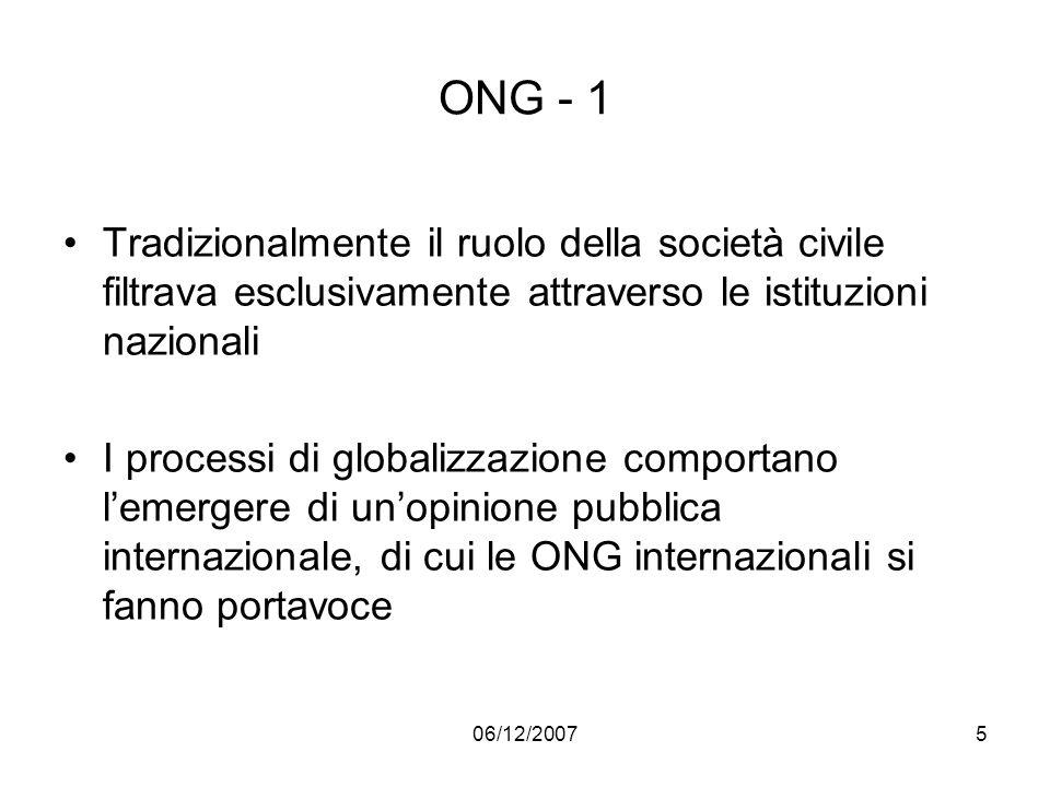 ONG - 1 Tradizionalmente il ruolo della società civile filtrava esclusivamente attraverso le istituzioni nazionali.