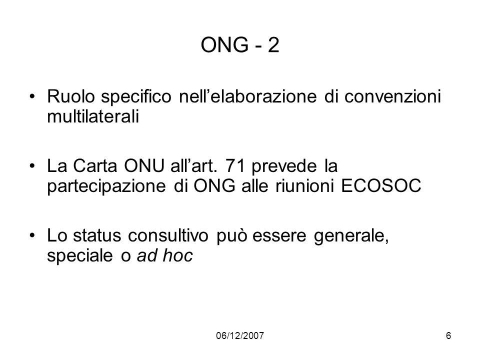 ONG - 2 Ruolo specifico nell'elaborazione di convenzioni multilaterali