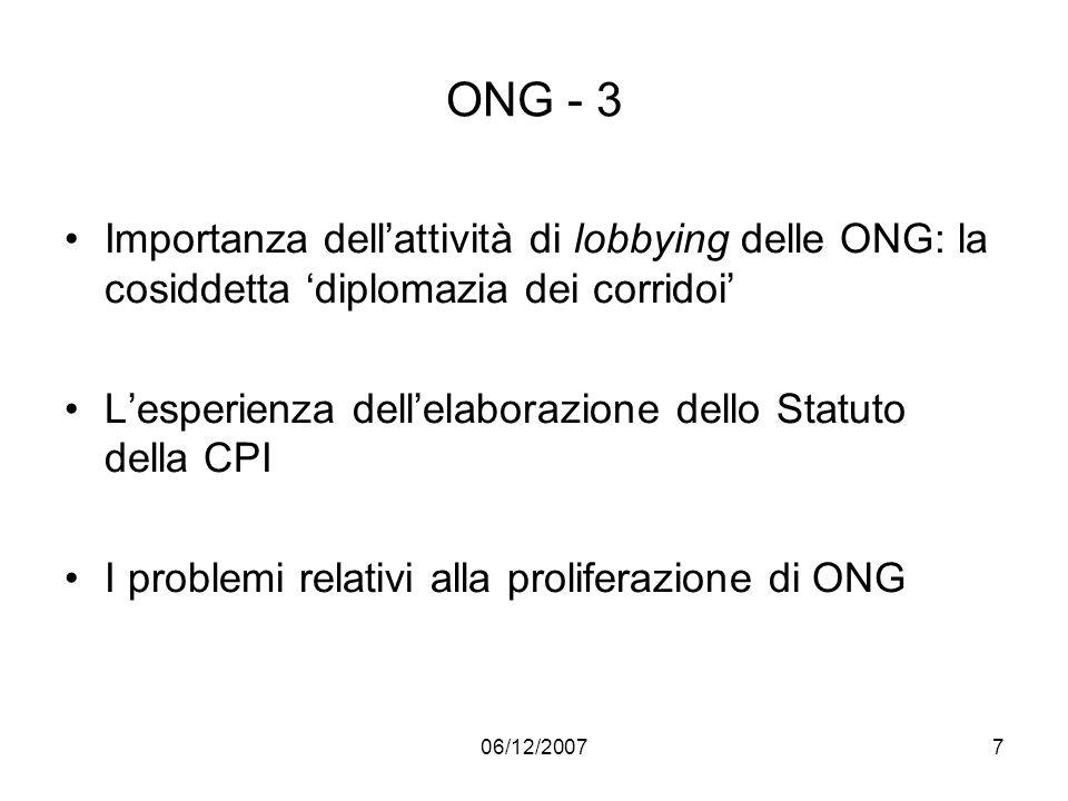 ONG - 3 Importanza dell'attività di lobbying delle ONG: la cosiddetta 'diplomazia dei corridoi'