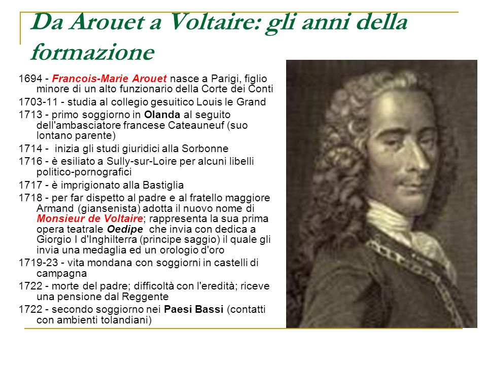 Da Arouet a Voltaire: gli anni della formazione