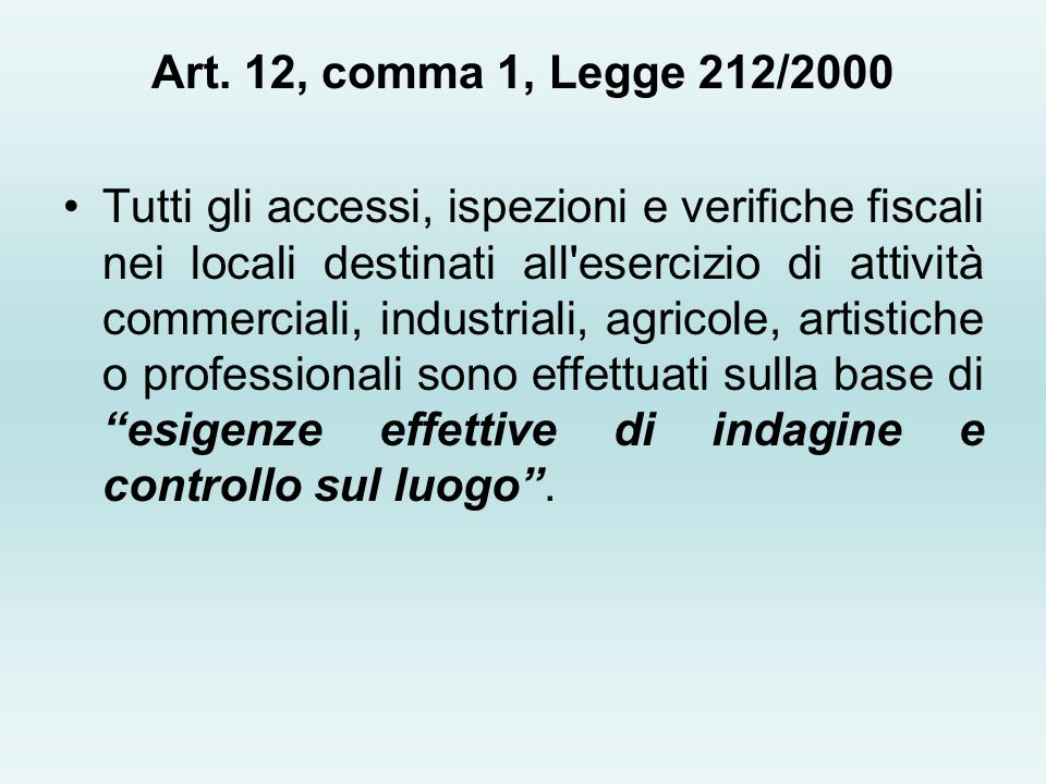 Art. 12, comma 1, Legge 212/2000