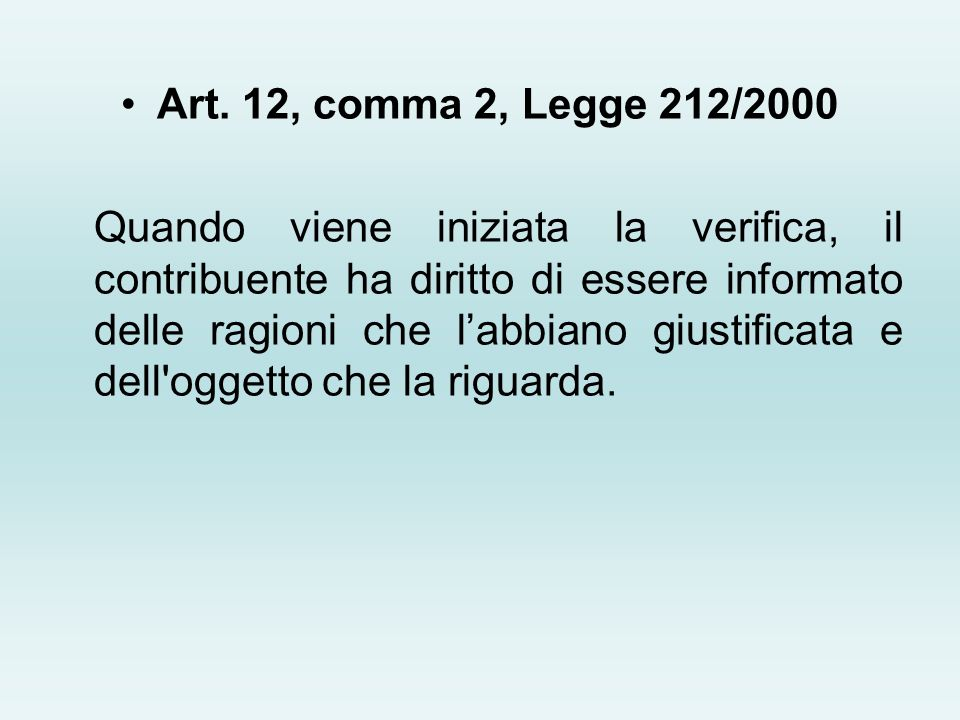 Art. 12, comma 2, Legge 212/2000