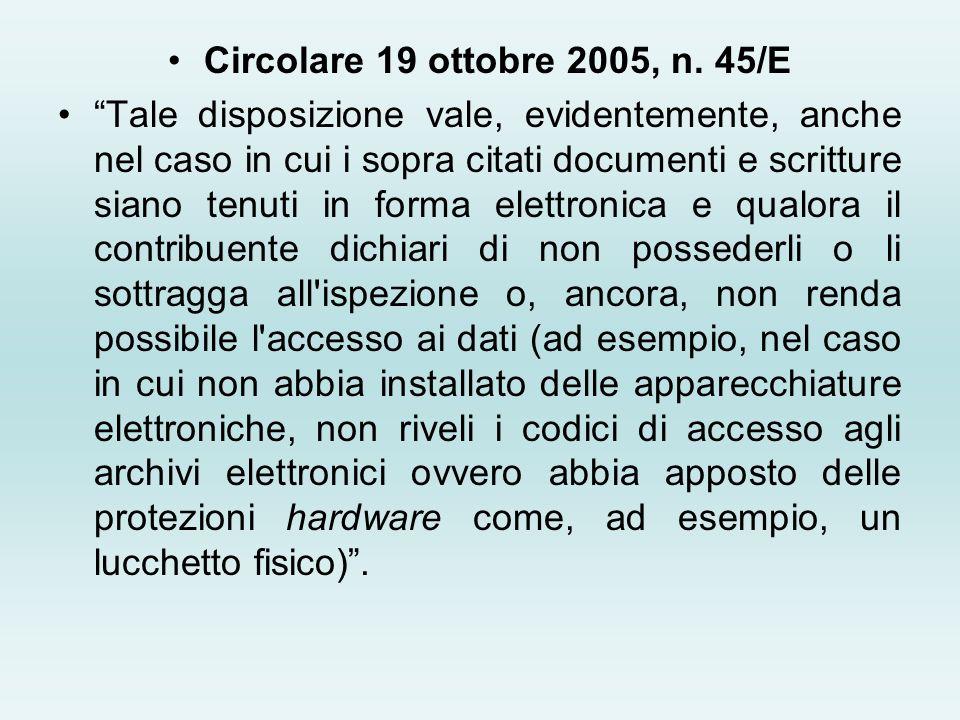 Circolare 19 ottobre 2005, n. 45/E