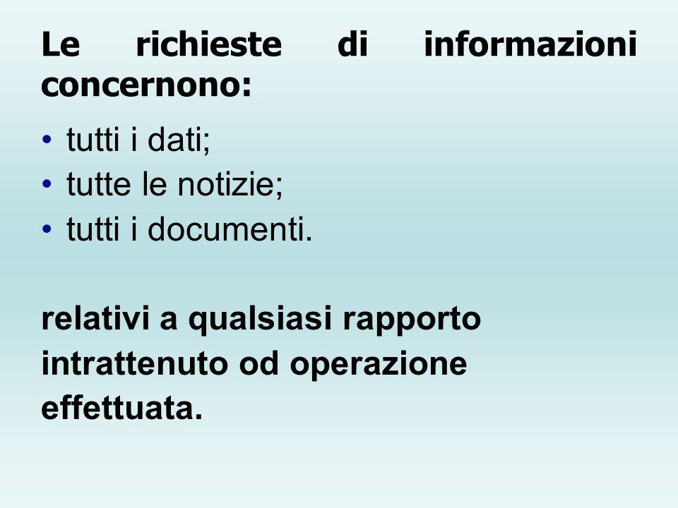 Le richieste di informazioni concernono: