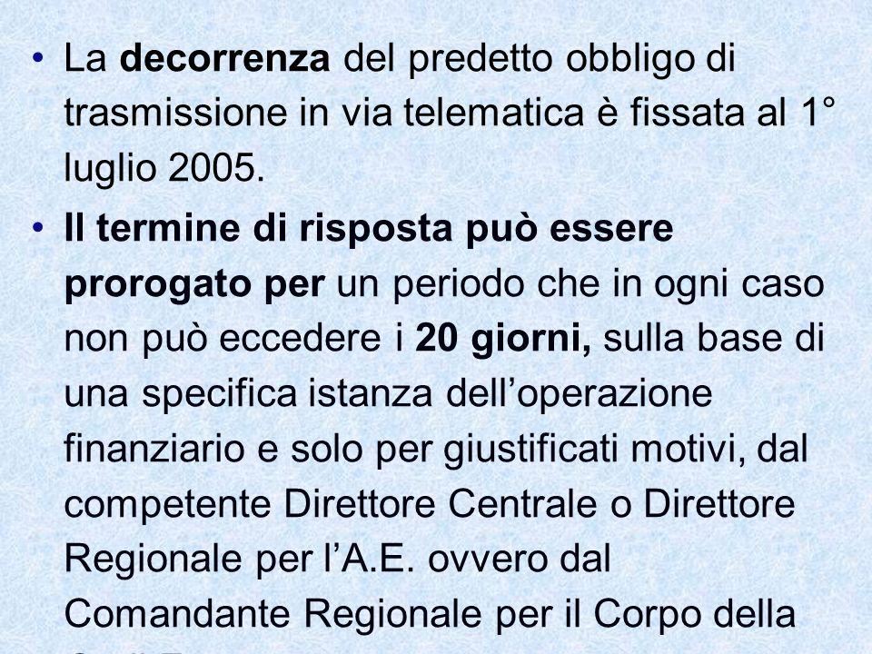 La decorrenza del predetto obbligo di trasmissione in via telematica è fissata al 1° luglio 2005.