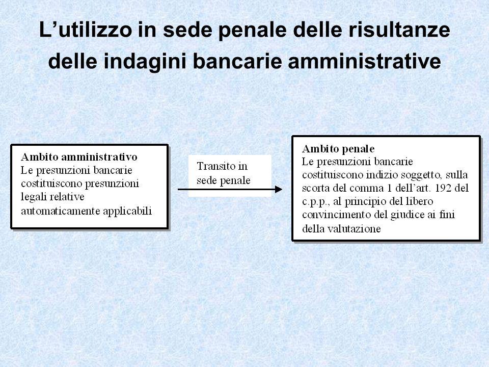 L'utilizzo in sede penale delle risultanze delle indagini bancarie amministrative