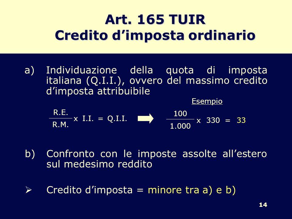 Art. 165 TUIR Credito d'imposta ordinario