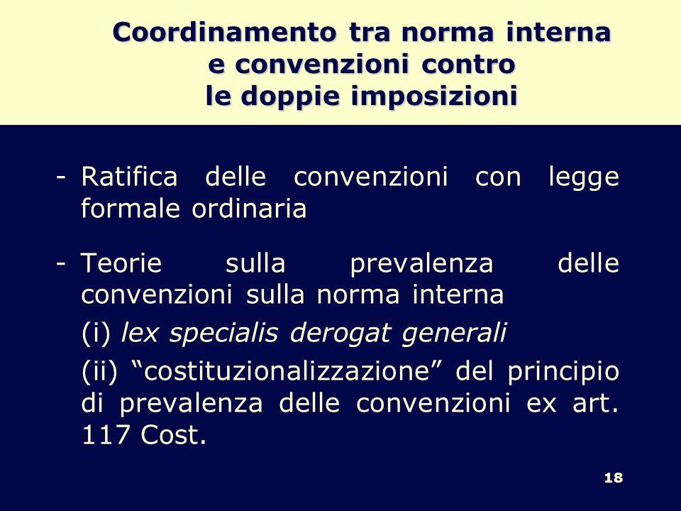 Coordinamento tra norma interna e convenzioni contro le doppie imposizioni