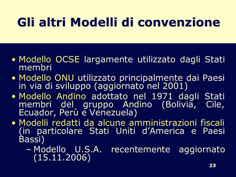 Gli altri Modelli di convenzione