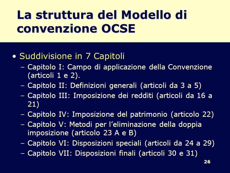 La struttura del Modello di convenzione OCSE