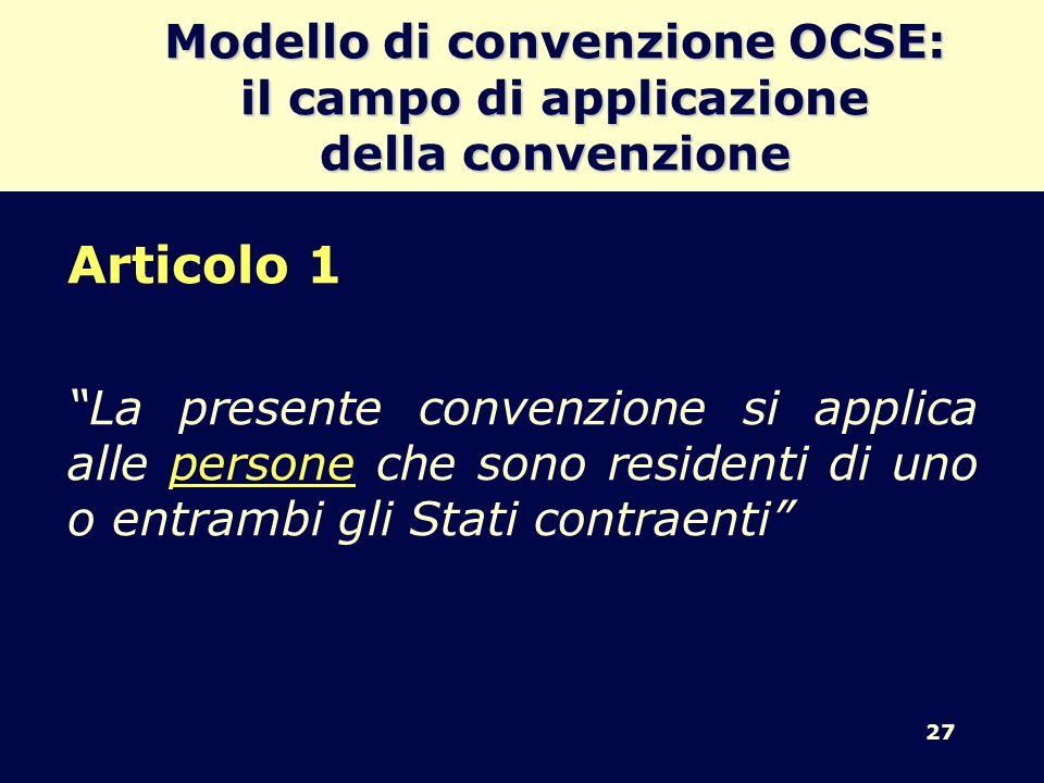 Modello di convenzione OCSE: il campo di applicazione della convenzione