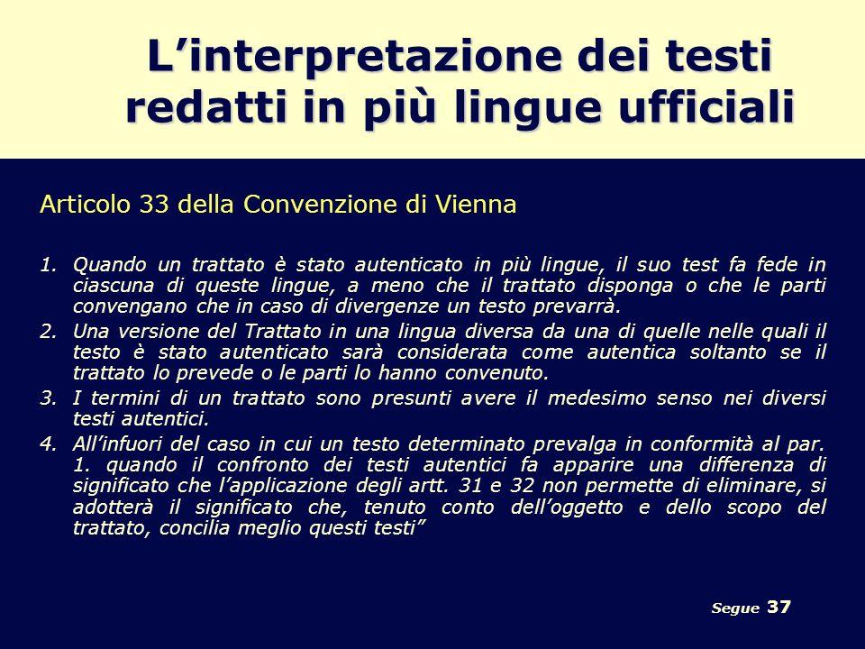 L'interpretazione dei testi redatti in più lingue ufficiali