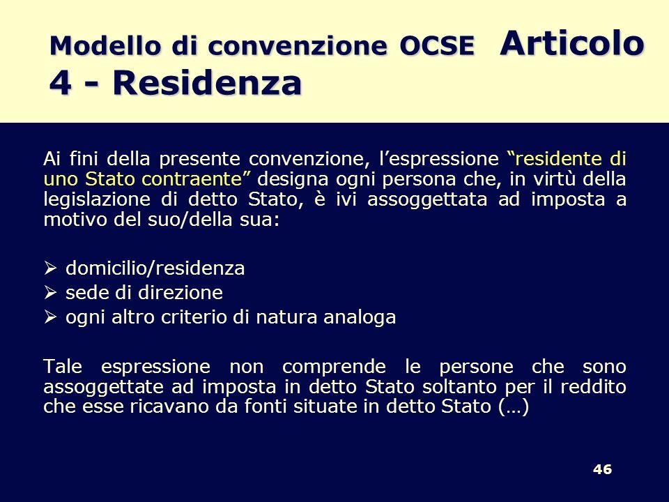 Modello di convenzione OCSE Articolo 4 - Residenza