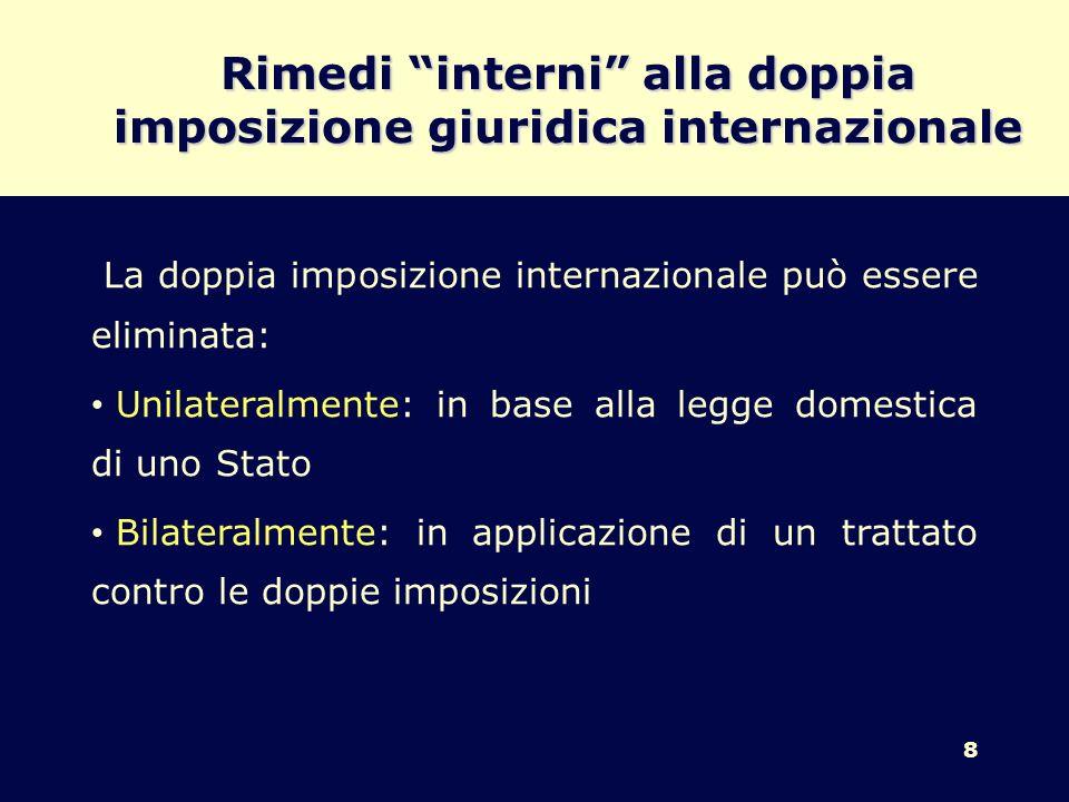 Rimedi interni alla doppia imposizione giuridica internazionale