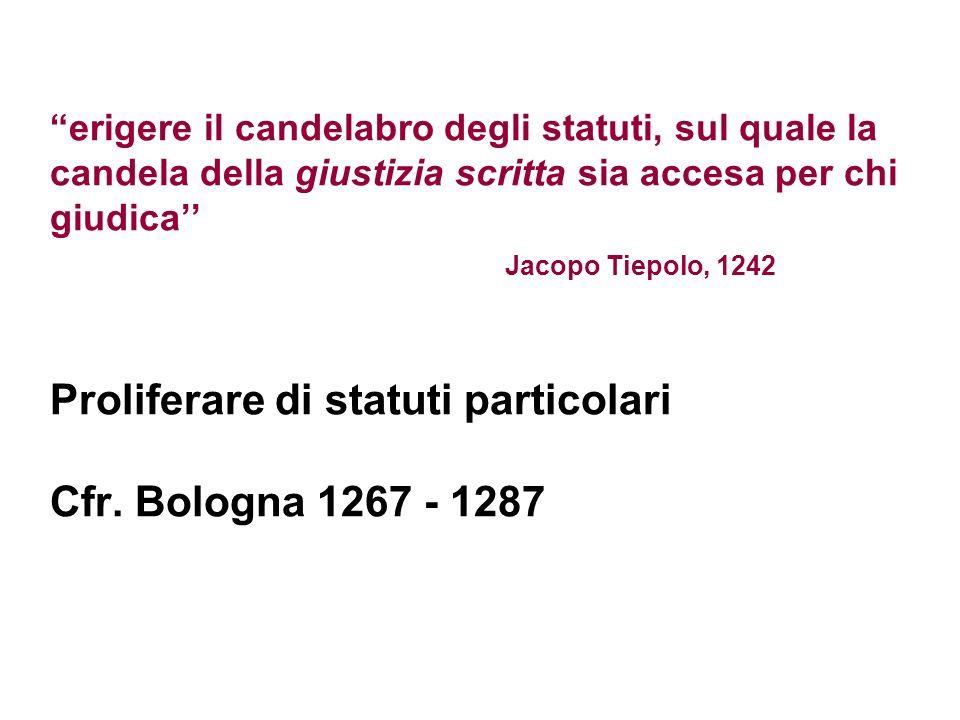 erigere il candelabro degli statuti, sul quale la candela della giustizia scritta sia accesa per chi giudica'' Jacopo Tiepolo, 1242 Proliferare di statuti particolari Cfr.