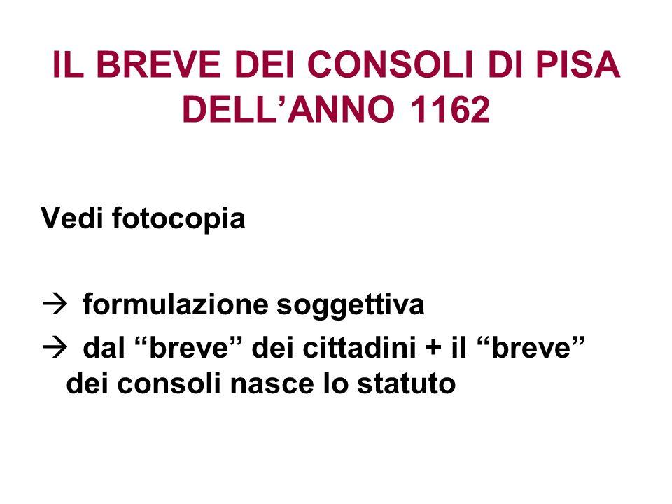 IL BREVE DEI CONSOLI DI PISA DELL'ANNO 1162