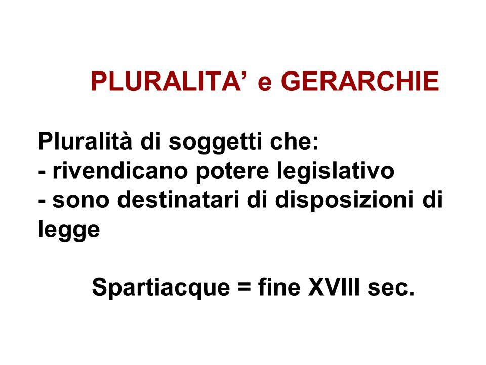 PLURALITA' e GERARCHIE Pluralità di soggetti che: - rivendicano potere legislativo - sono destinatari di disposizioni di legge Spartiacque = fine XVIII sec.