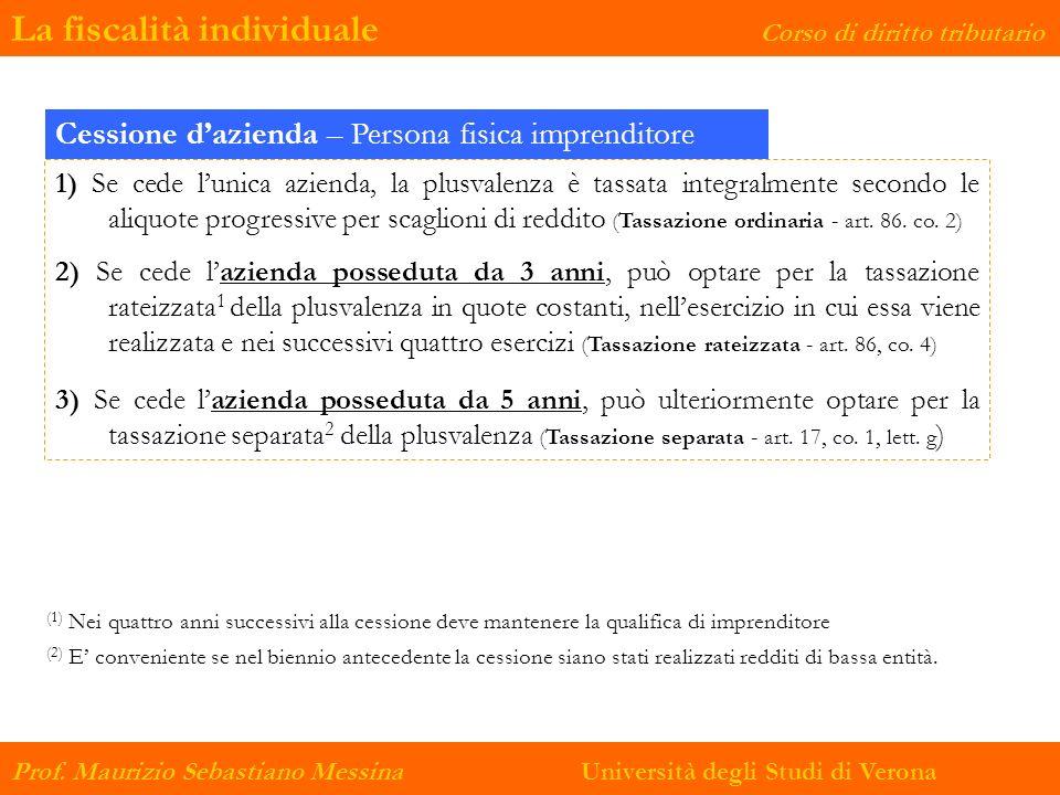 La fiscalità individuale Corso di diritto tributario