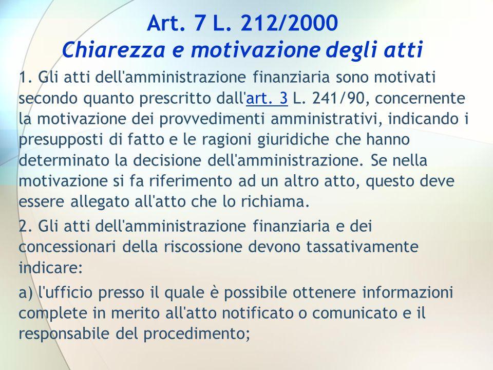 Art. 7 L. 212/2000 Chiarezza e motivazione degli atti